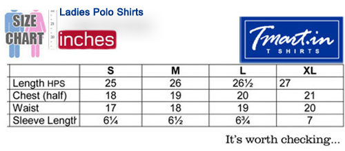 Ladies Polo Shirts Size Chart